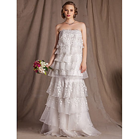 Sheath/Column Strapless Floor-length Lace And Organza Wedding Dress