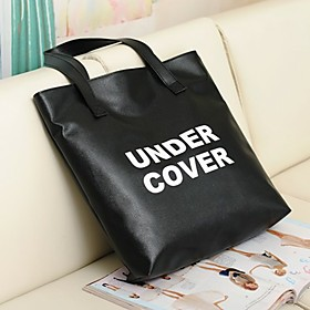 BLACK CAT Korean Style Large Capacity PU Leather Tote Bag