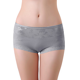 XZYD Gray High-waist Jacquard Lace Panties