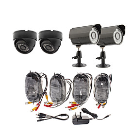 Day/Night Security Camera 4 Pack(2 Waterproof Outdoor Cameras   2 Indoor Cameras)