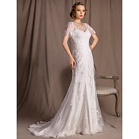 Trumpet/Mermaid Bateau Sweep/Brush Train Lace And Satin Wedding Dress