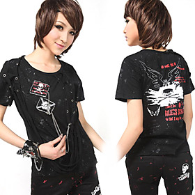 Cool Short Sleeve Skull Pattern Cotton Punk Lolita T-shirt with Tassels