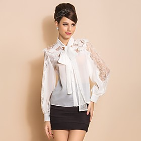 TS Lace Bow Long Sleeve Blouse Shirt