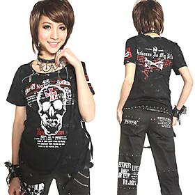 Short Sleeve Black Skull and Cross Pattern Cotton Punk Lolita T-shirt