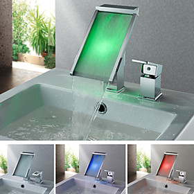 Contemporary Color Changing LED Chrome Finish Waterfall Tub Faucet