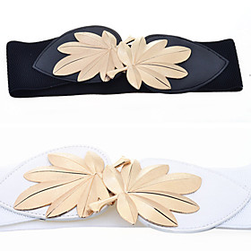 Women's Basic Elastic Leaf Waist Belt(Fit Waist:58-82CM)