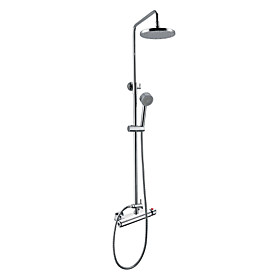 Contemporary Thermostatic Wall Mount Shower Faucet with 8 Inch Shower Head and Hand Shower (Chrome Finish)