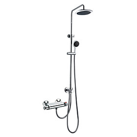 Chrome Finish Contemporary Thermostatic Wall Mount Shower Faucet with 8 Inch Shower Head and Hand Shower