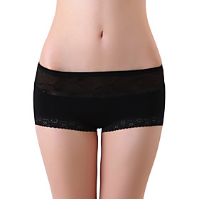 XZYD Black High-waist Jacquard Lace Panties