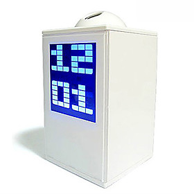 Digital Blue Backlight White Alarm Clock Calendar with Time Projector (3xAA)