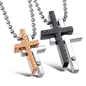 Stylish Stainless Steel With Cross Lovers' Necklace