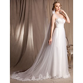 A-line Princess One Shoulder Sweetheart Chapel Train Watteau Train Lace Satin And Tulle Wedding Dress