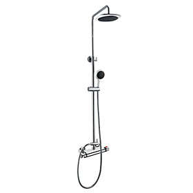 Thermostatic Wall Mount Contemporary Shower Faucet with 8 Inch Shower Head and Hand Shower (Chrome Finish)