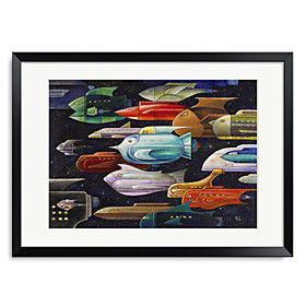 Printed Art Cartoon Rocket Fish 1301-0239