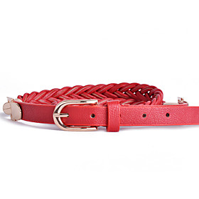 Women's Casual Candy COLor Pin Buckle Woven Belt
