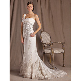 Sheath/Column One Shoulder Sweep/Brush Train Lace Wedding Dress