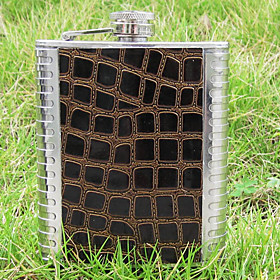 Small Outdoor Stainless Steel Portable Flagon (7 oz.Brown)