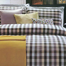Bordeaux Plaid Twin / Queen / King 3-Piece Duvet Cover Set