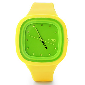 Casual Contrast Color Silicone Band Wrist Watches(Yellow and Green)