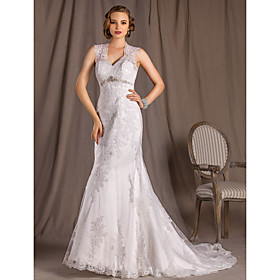 A-line Princess V-neck Court Train  Lace Satin And Tulle Wedding Dress