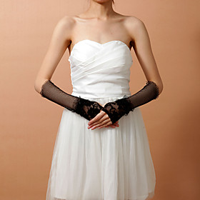 Women's Lace With Net Fingerless Elbow Length Fashion/Party Gloves