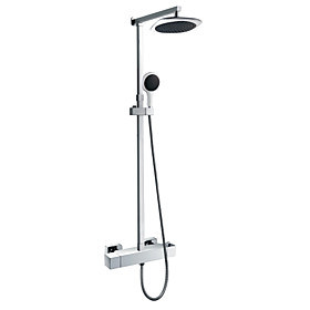 Wall Mount Contemporary Thermostatic Chrome Finish Shower Faucet with 8 Inch Shower Head and Hand Shower