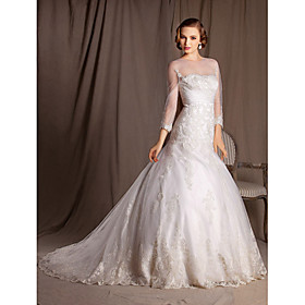 Ball Gown Trumpet/Mermaid Bateau Chapel Train Lace And Satin Wedding Dress