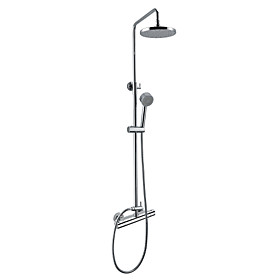 Wall Mount Contemporary Thermostatic Shower Faucet with 8 Inch Shower Head and Hand Shower (Chrome Finish)