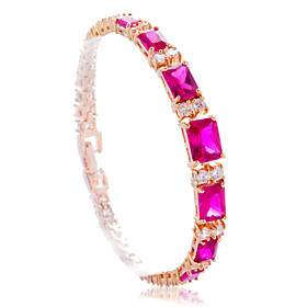 Fashion Alloy Plating 23K Gold With Cubic Zirconia Women's Bracelet(More Colors)