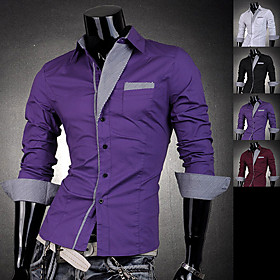 Men's Stipes Triangle Collar Slim Shirt
