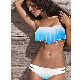 Women's Tassels Light Blue Gradient Color Swimwear