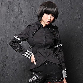 Long Sleeve Check Pattern Cuff Cotton Punk Lolita Shirt(2 Colors)