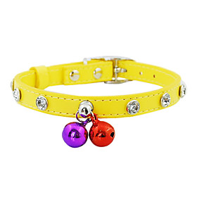 Diamonds Inlaid Imitation Leather Button Collar with Bells for Dogs (Assorted Color)