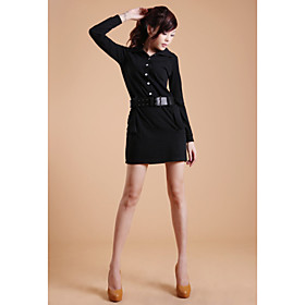 ZHI YUAN Lapel Collar Belt Decor Long Sleeve Dress(More Colors)