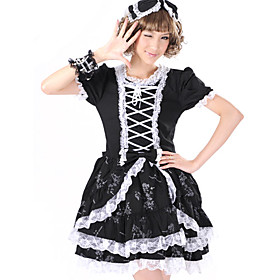 Short Sleeve Short Black Gothic Maid Cosplay Lolita Dress(2 Colors)