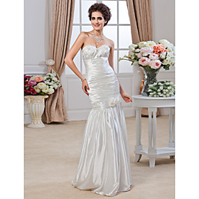 Trumpet/Mermaid Sweetheart Floor-length Stretch Satin Wedding Dress