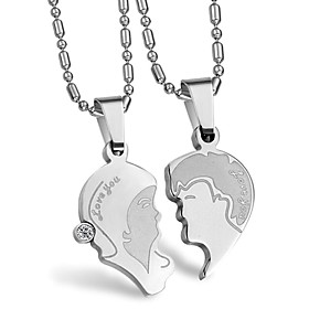 Fashion Stainless Steel With Crystal Lovers' Necklace