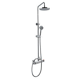 Thermostatic Contemporary Wall Mount Shower Faucet with 8 Inch Shower Head and Hand Shower (Chrome Finish)