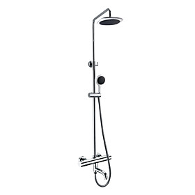 Thermostatic Contemporary Chrome Finish Wall Mount Shower Faucet with 8 Inch Shower Head and Hand Shower