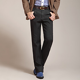 FUNSUNG Men's Business Casual Fall/Winter Thick Straight Slim Fit Pants