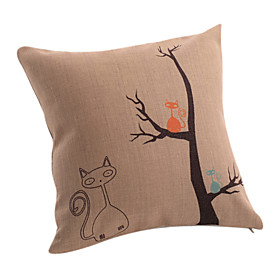 Cartoon Cats Cotton/Linen Decorative Pillow Cover