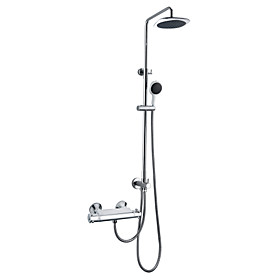 Chrome Finish Thermostatic Wall Mount Contemporary Shower Faucet with 8 Inch Shower Head and Hand Shower