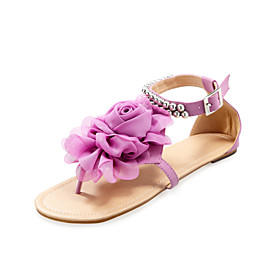 Leatherette Flat Heel Sandals / Flats With Satin Flower Beading Party   Evening Shoes (More Colors Available)
