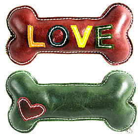 All Cow Leather Love Pattern Bone Style Squeaking Toys