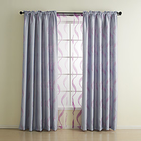 Classic Jacquard Stripe Blackout Curtain set (Two Panels)