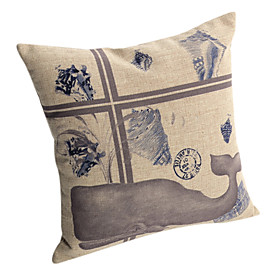 Whale Pattern Cotton/Linen Decorative Pillow Cover