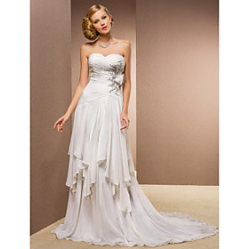 Sheath/Column Sweetheart Court Train Chiffon And Stretch Satin Wedding Dress