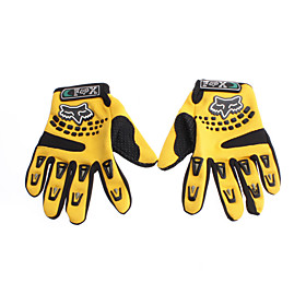 FOX Yellow Black Nylon Comfortable Full-finger Gloves for Cycling
