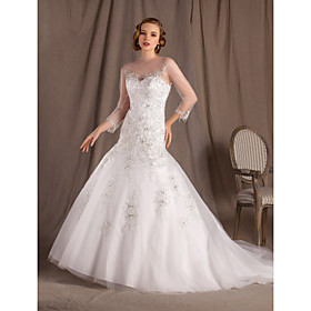 Trumpet/Mermaid Bateau Chapel Train Lace And Satin Wedding Dress