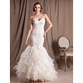 Trumpet/Mermaid Sweetheart Court Train Lace Organza And Satin Wedding Dress